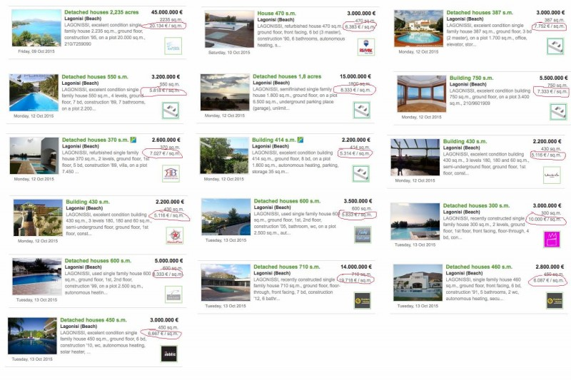 Random Property Listings in Lagonisi Showing the Price per Sq.m