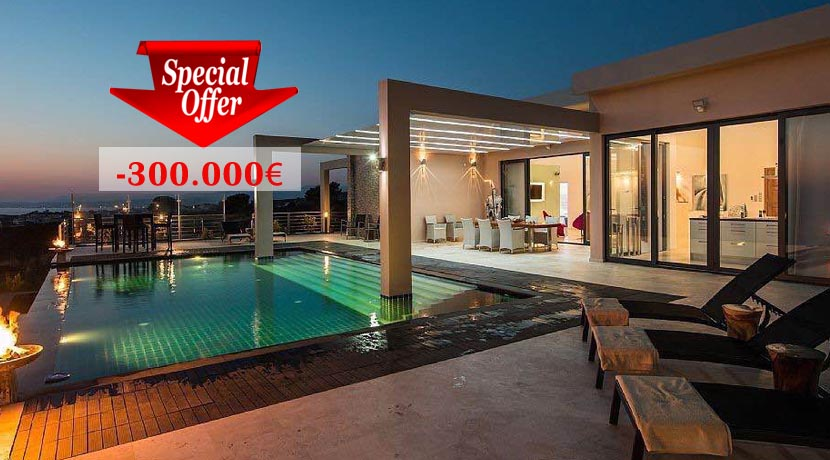 Luxury Villa for sale Chania Crete, Seafront REDUCED 300.000€