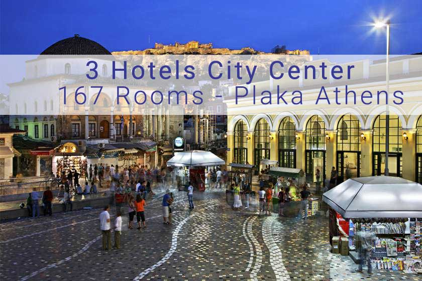 3 Hotels at City Center of Athens with total 167 Rooms, Plaka Athens