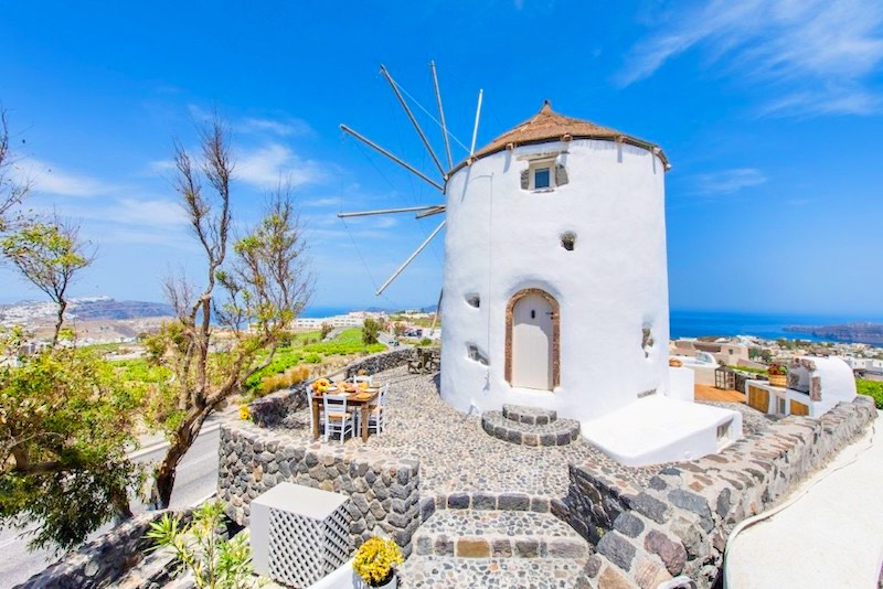 Windmill for sale in Santorini, with outdoor Jacuzzi, Pyrgos area