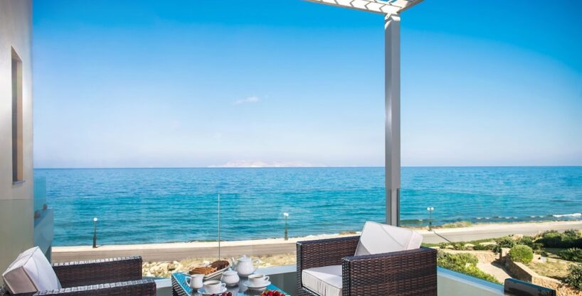 Seafront Villa in Gouves near Heraklio Crete. Seafront Properties in Crete Greece