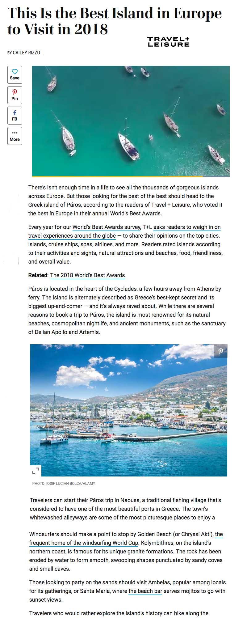 Paros Voted Best Island in Europe in 2018