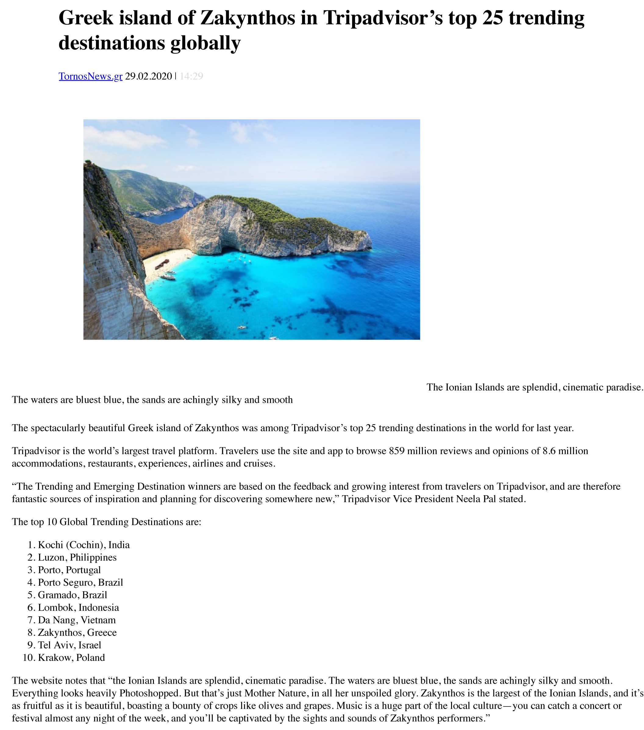Tornos News | Greek island of Zakynthos in Tripadvisor's top 2