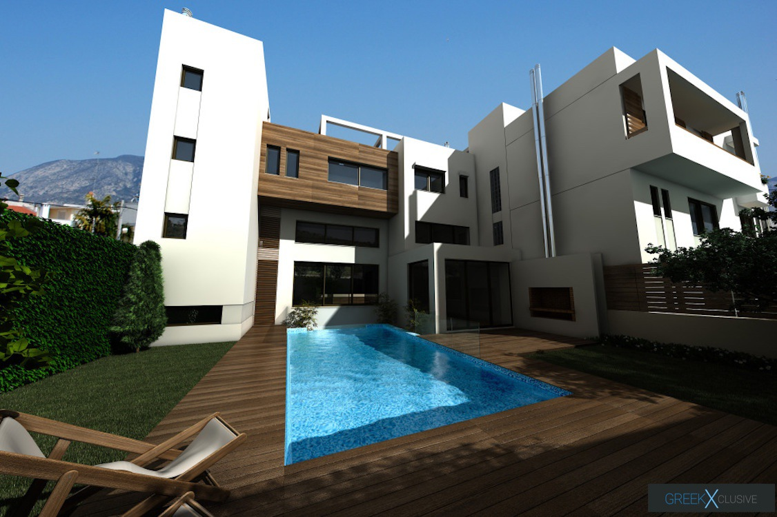 Modern maisonette with pool and garden, Alimos, South Athens