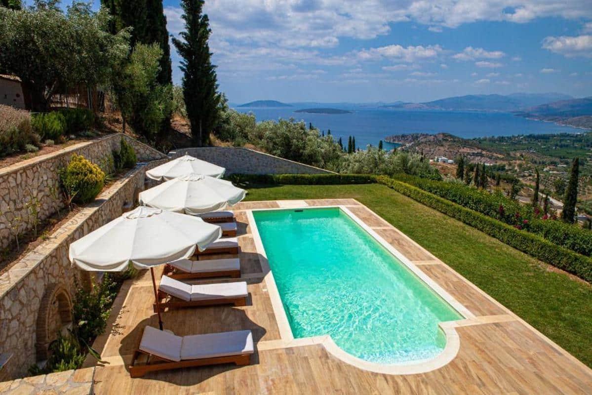 Panoramic View Villa in Peloponnese, Near Nafplio and Porto Heli, Tolo area