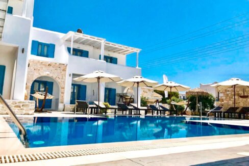 Small hotel next to the beach in Naoussa Paros in Greece for Sale, Hotels Sales Paros Greece 1